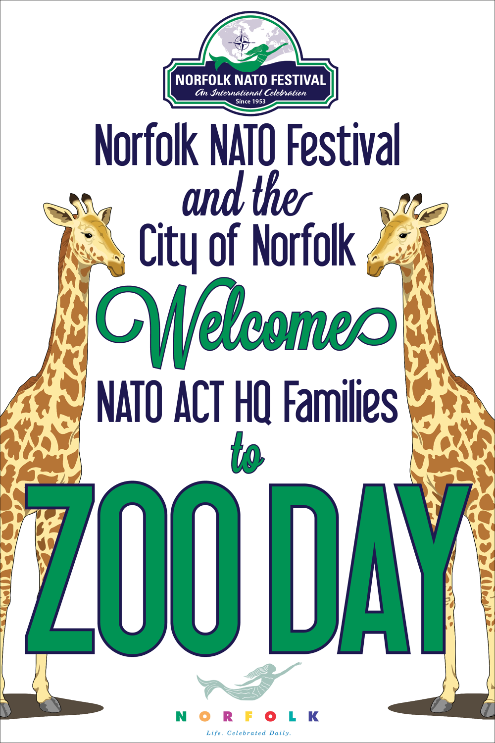 Zoo poster design - Poster Was Used To Welcome Families As They Entered The Norfolk Zoo On The Nato Festival S Zoo Day